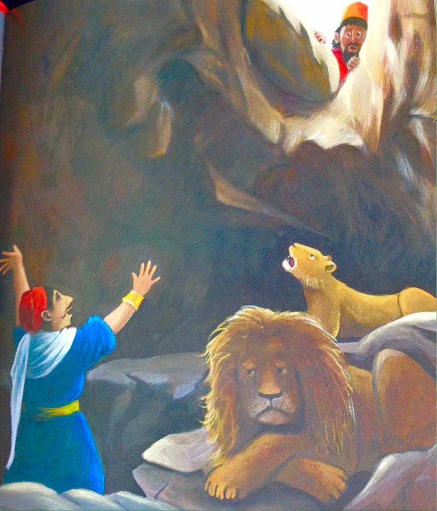 Tekening van Daniël in de leeuwenkuil